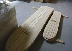 All of the company's surfboards and skateboards are made from obeche wood and coated with linseed oil. The result is that no two boards are ever alike.