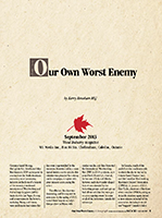 Our Own Worst Enemy: Download pdf here