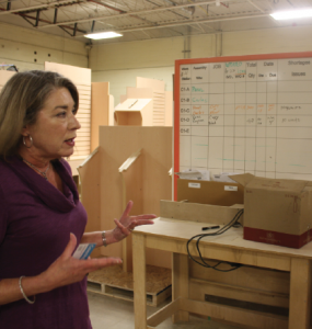 Co-owner Linda Soules fosters a collaborative approach to manufacturing. As an example, all workers in the plant are encouraged to write feedback on this production schedule.
