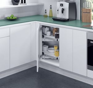 Corner cabinet shelving systems