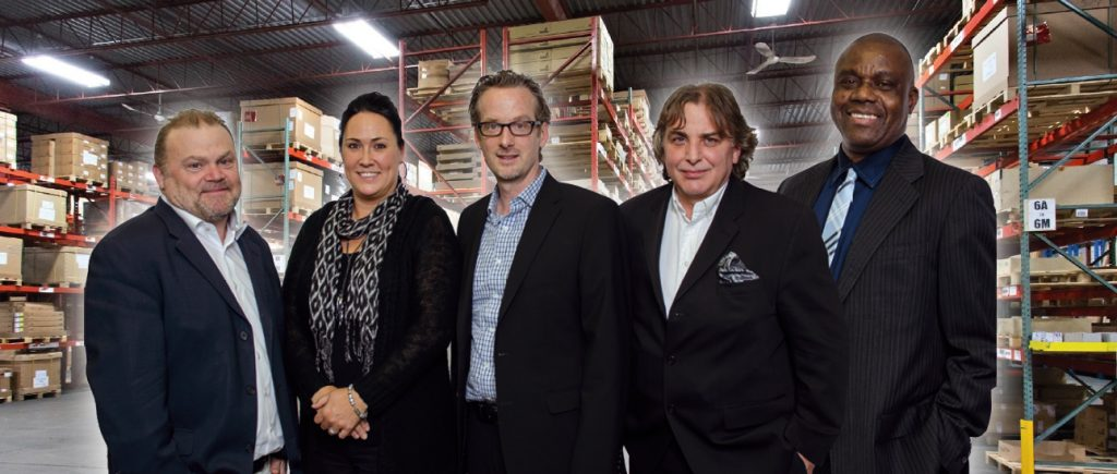 The Hettich Canada management team is comprised of (left to right) Claude de Lanauze, Nadia La Vita, René Dionne, Don Penner and Roland Van Ibra.