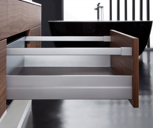Drawer system blends into surrounding material