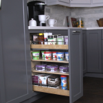 Base cabinet pullout with soft-close undermount slides
