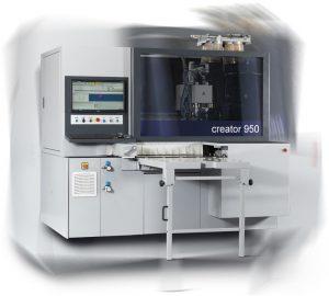 CNC machine centre drills panel holes, inserts dowels