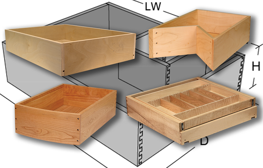 Unassembled drawer boxes chest of drawers
